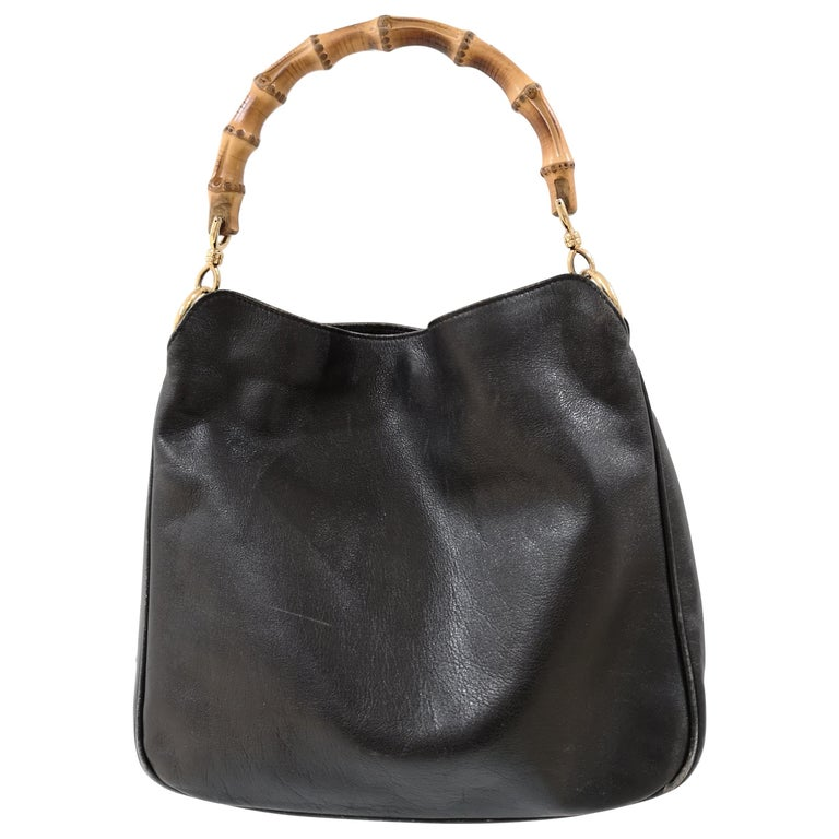 Gucci Black Leather Bamboo bag For Sale