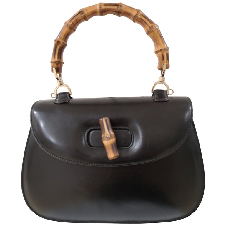 ea72f519a Gucci Black Leather Bamboo Bag For Sale at 1stdibs