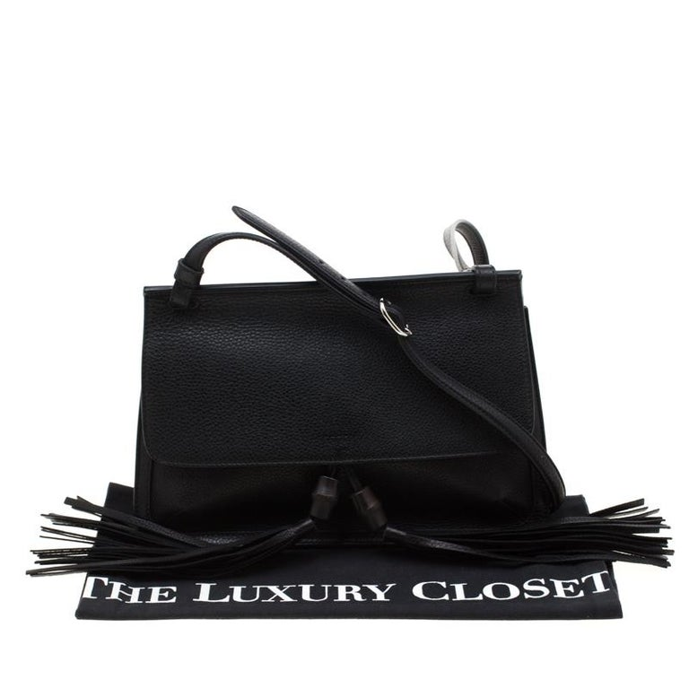 Gucci Black Leather Bamboo Daily Tassel Shoulder Bag For Sale 7