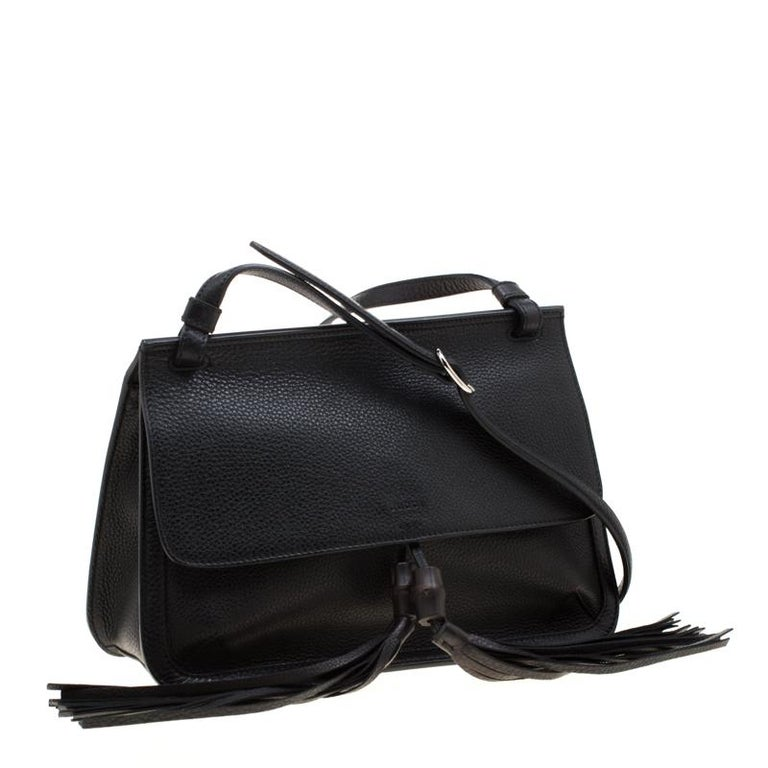 Women's Gucci Black Leather Bamboo Daily Tassel Shoulder Bag For Sale