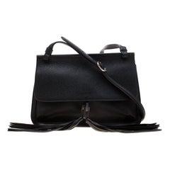 Gucci Black Leather Bamboo Daily Tassel Shoulder Bag