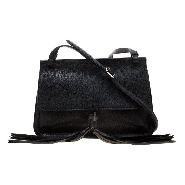 Gucci Black Leather Bamboo Daily Tassel Shoulder Bag For Sale