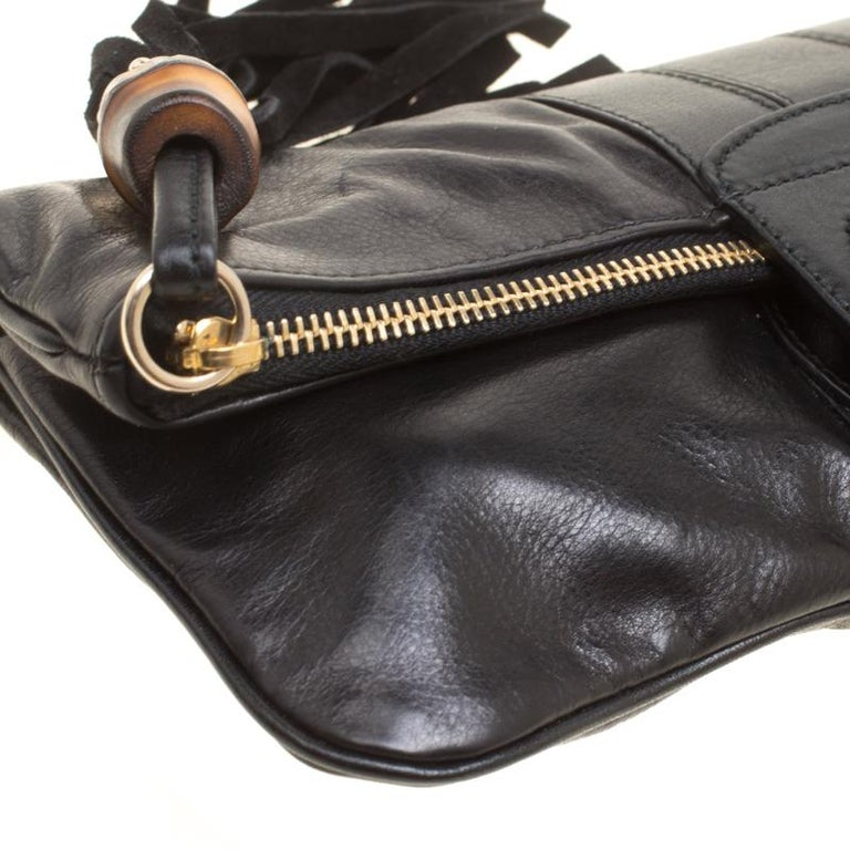 Gucci Black Leather Bamboo Detail Tassel Lucy Fold Over Clutch 6