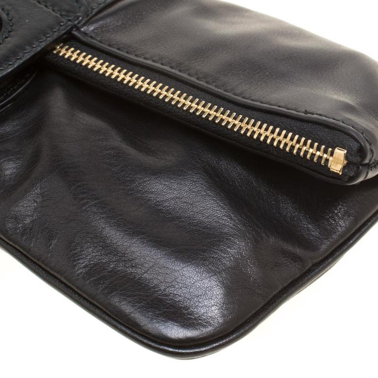Gucci Black Leather Bamboo Detail Tassel Lucy Fold Over Clutch 7