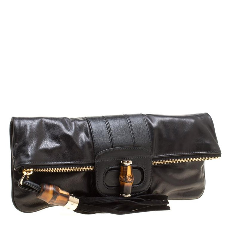 Women's Gucci Black Leather Bamboo Detail Tassel Lucy Fold Over Clutch