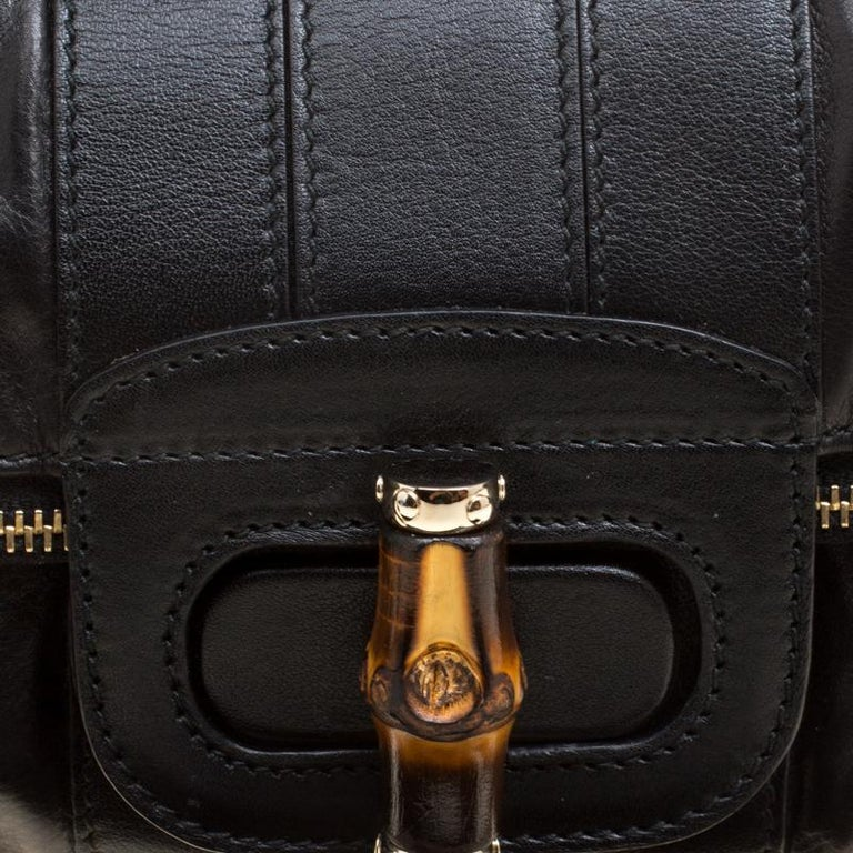 Gucci Black Leather Bamboo Detail Tassel Lucy Fold Over Clutch 1