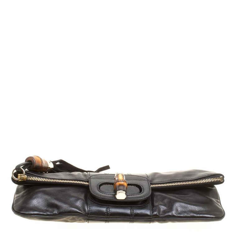 Gucci Black Leather Bamboo Detail Tassel Lucy Fold Over Clutch 2