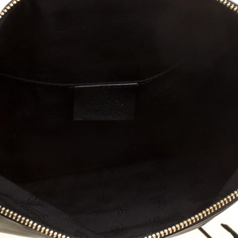 Gucci Black Leather Bamboo Detail Tassel Lucy Fold Over Clutch 3