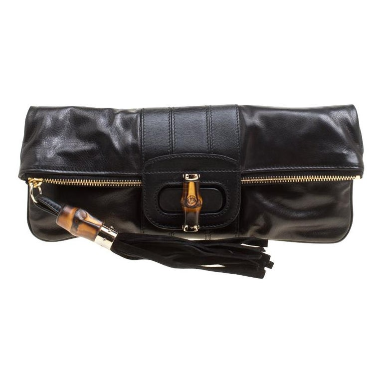 Gucci Black Leather Bamboo Detail Tassel Lucy Fold Over Clutch