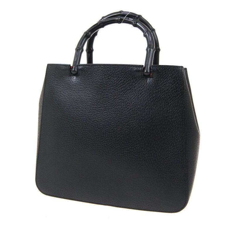 Gucci Black Leather Bamboo Evening Top Handle Satchel Tote Bag In Good Condition In Chicago, IL
