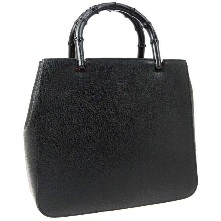 Gucci Black Leather Bamboo Evening Top Handle Satchel Tote Bag