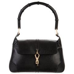 Gucci Black Leather Bamboo Gold Saddle Top Handle Satchel Shoulder Flap Bag