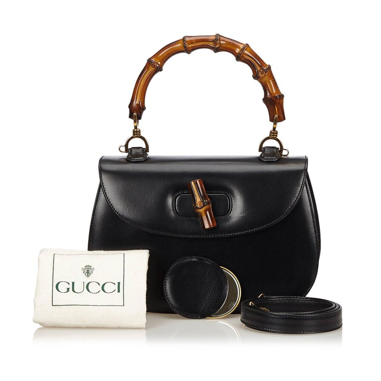 Gucci Black Leather Bamboo Handle Bag with detachable shoulder strap  For Sale 6
