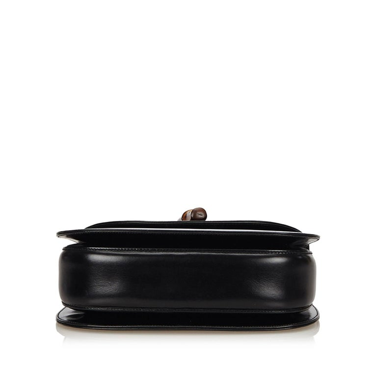 Women's or Men's Gucci Black Leather Bamboo Handle Bag with detachable shoulder strap  For Sale