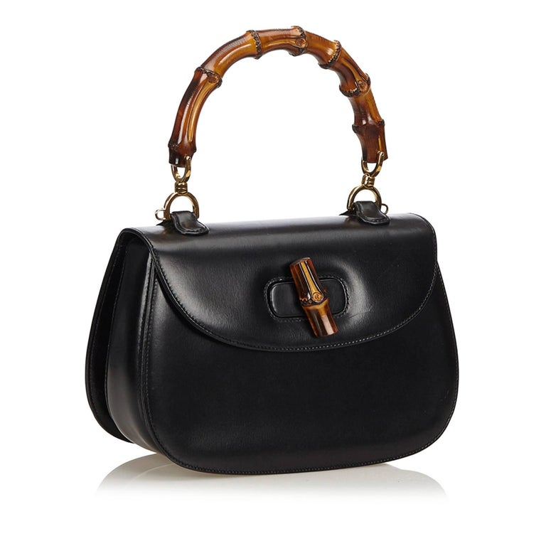 Gucci Black Leather Bamboo Handle Bag with detachable shoulder strap  For Sale 1