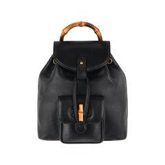 GUCCI Black Leather Bamboo Handle Mini Drawstring Backpack Handbag - Vintage
