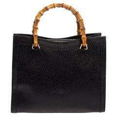 Gucci Black Leather Bamboo Handle Square Tote