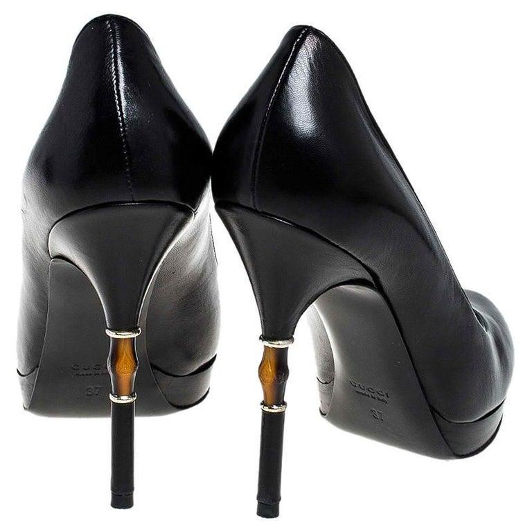Gucci Black Leather Bamboo Heel Platform Pumps Size 37 For Sale 1