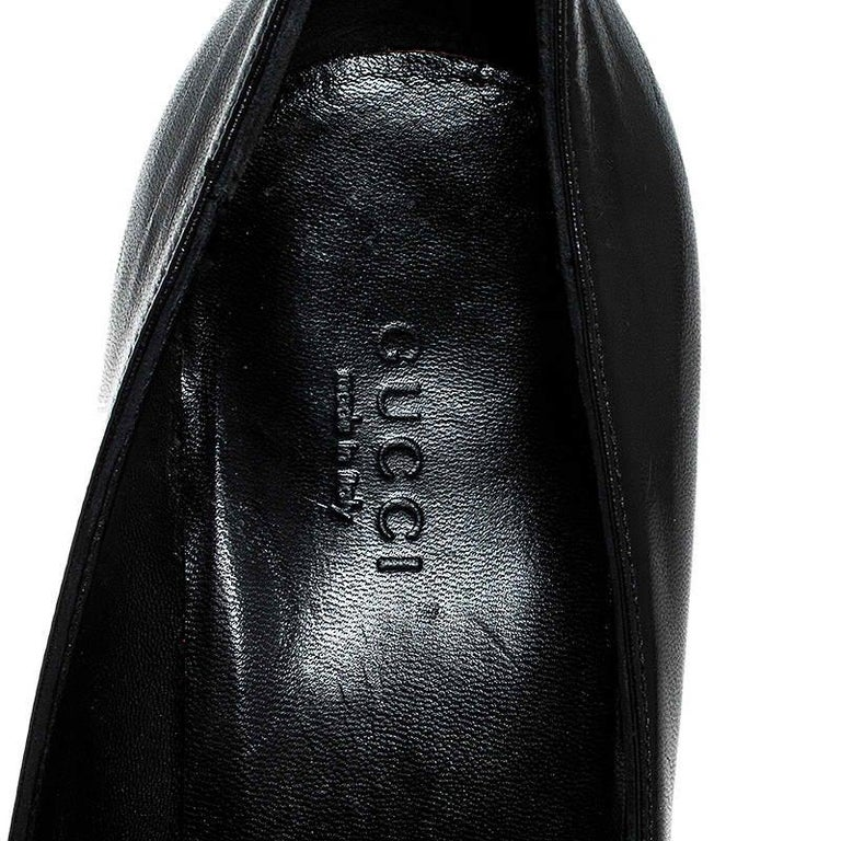 Gucci Black Leather Bamboo Heel Platform Pumps Size 37 For Sale 3