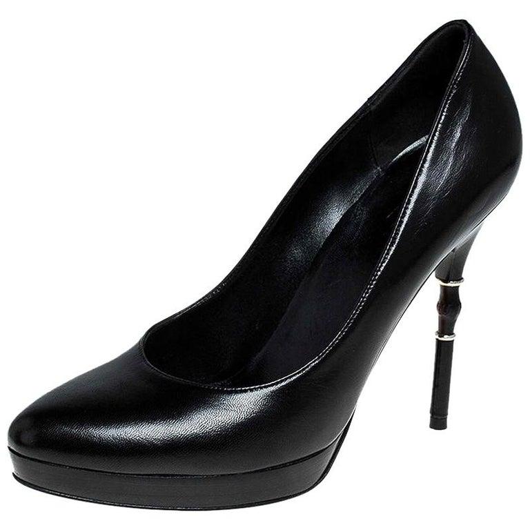 Gucci Black Leather Bamboo Heel Platform Pumps Size 37 For Sale