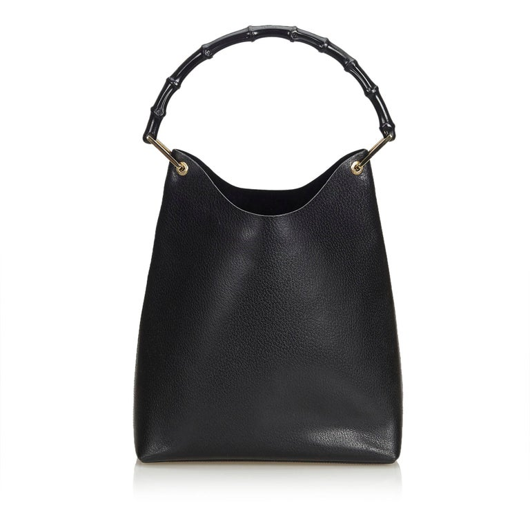 b931284f Gucci Black Leather Bamboo Hobo Bag Italy w/ Dust BagPouch