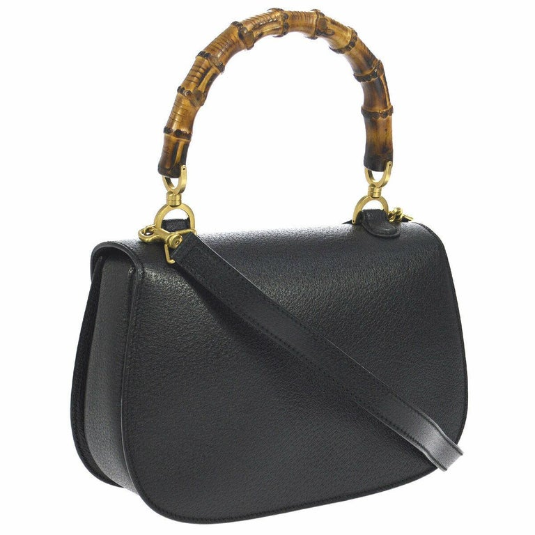 Gucci Black Leather Bamboo Kelly Top Handle Satchel Evening Shoulder Bag  In Good Condition For Sale In Chicago, IL
