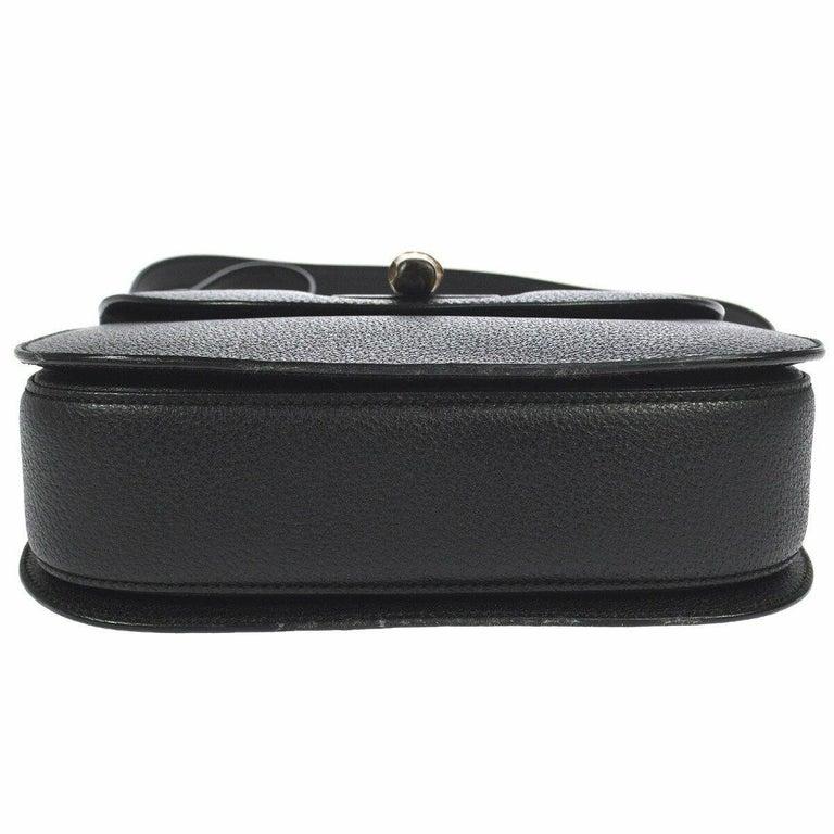 Women's Gucci Black Leather Bamboo Kelly Top Handle Satchel Evening Shoulder Bag  For Sale