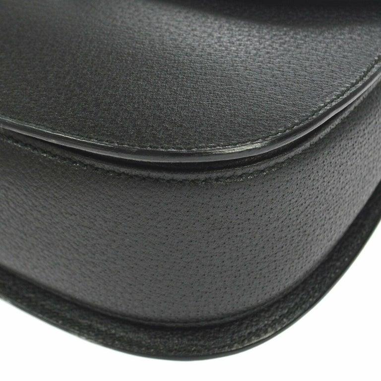 Gucci Black Leather Bamboo Kelly Top Handle Satchel Evening Shoulder Bag  For Sale 1