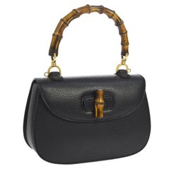 b3d6335b7eeae9 Gucci Black Leather Bamboo Kelly Top Handle Satchel Evening Shoulder Bag