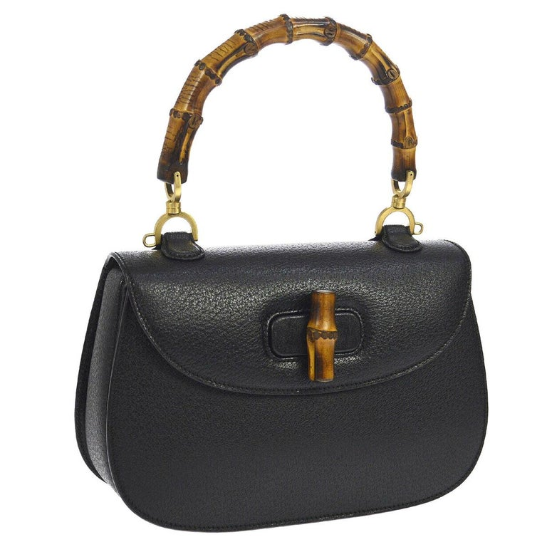 Gucci Black Leather Bamboo Kelly Top Handle Satchel Evening Shoulder Bag  For Sale