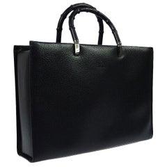 Gucci Black Leather Bamboo Large Top Handle Shopper CarryallShoulder Tote Bag