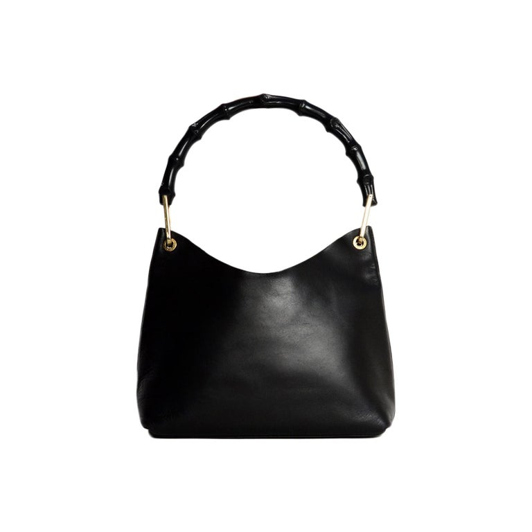 89f4a61acf7d Gucci Black Leather/Bamboo Shoulder Bag For Sale at 1stdibs