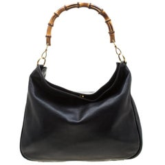 Gucci Black Leather Bamboo Shoulder Bag