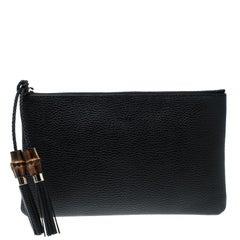Gucci Black Leather Bamboo Tassel Clutch