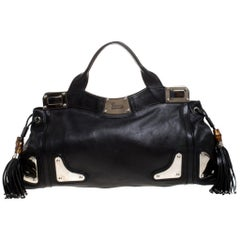 Gucci Black Leather Bamboo Tassel Indy Satchel