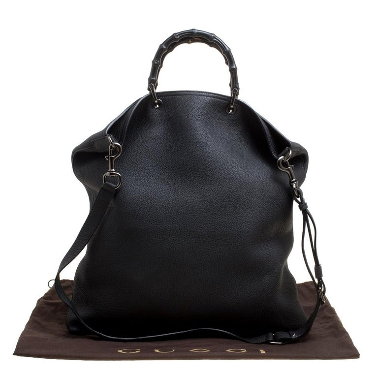 Gucci Black Leather Bamboo Top Handle Bag For Sale 7