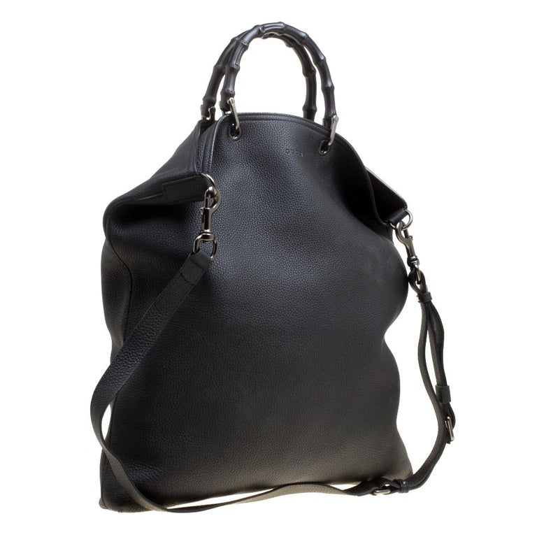 Women's Gucci Black Leather Bamboo Top Handle Bag For Sale