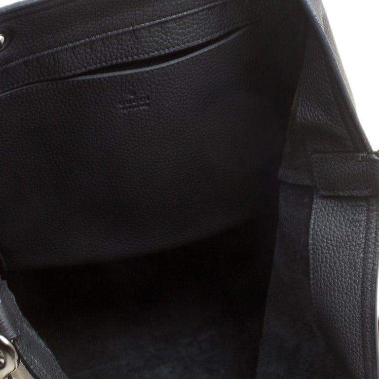 Gucci Black Leather Bamboo Top Handle Bag For Sale 3