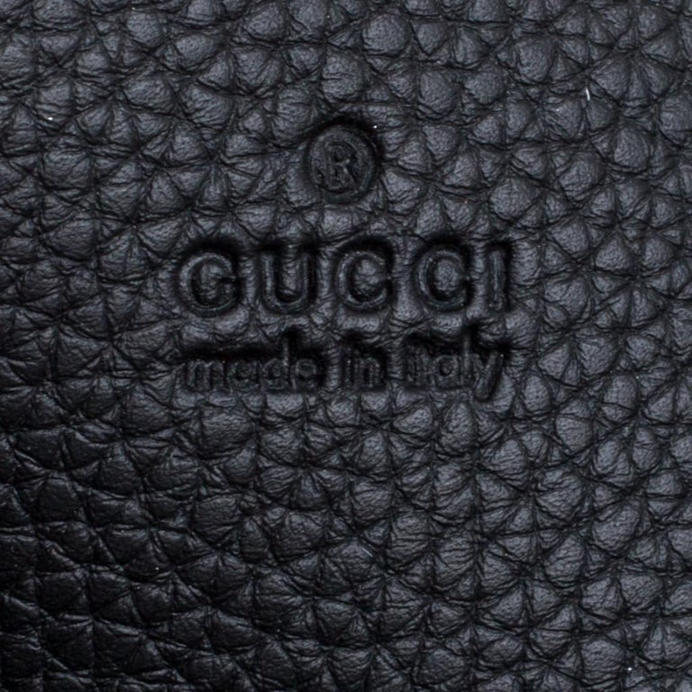Gucci Black Leather Bamboo Top Handle Bag For Sale 4