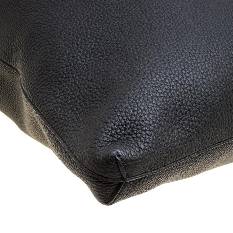 Gucci Black Leather Bamboo Top Handle Bag For Sale 5