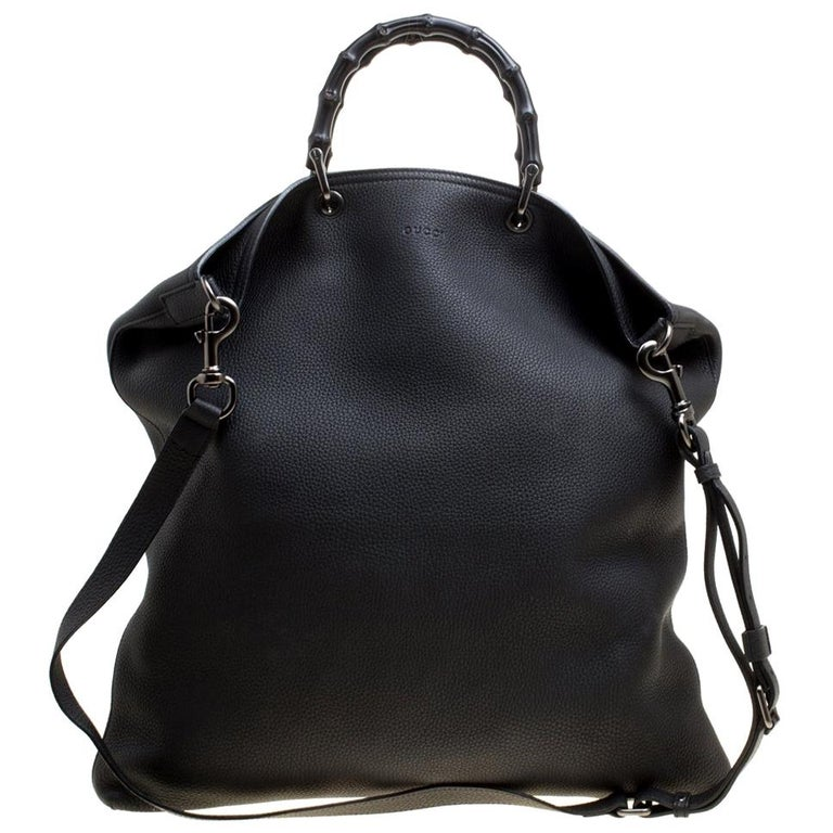 Gucci Black Leather Bamboo Top Handle Bag For Sale