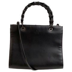 Gucci Black Leather Bamboo Tote Handbag with Strap