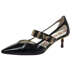 Gucci Black Leather Bee And Butterfly Embellishment Pointed Toe Pumps Size 38