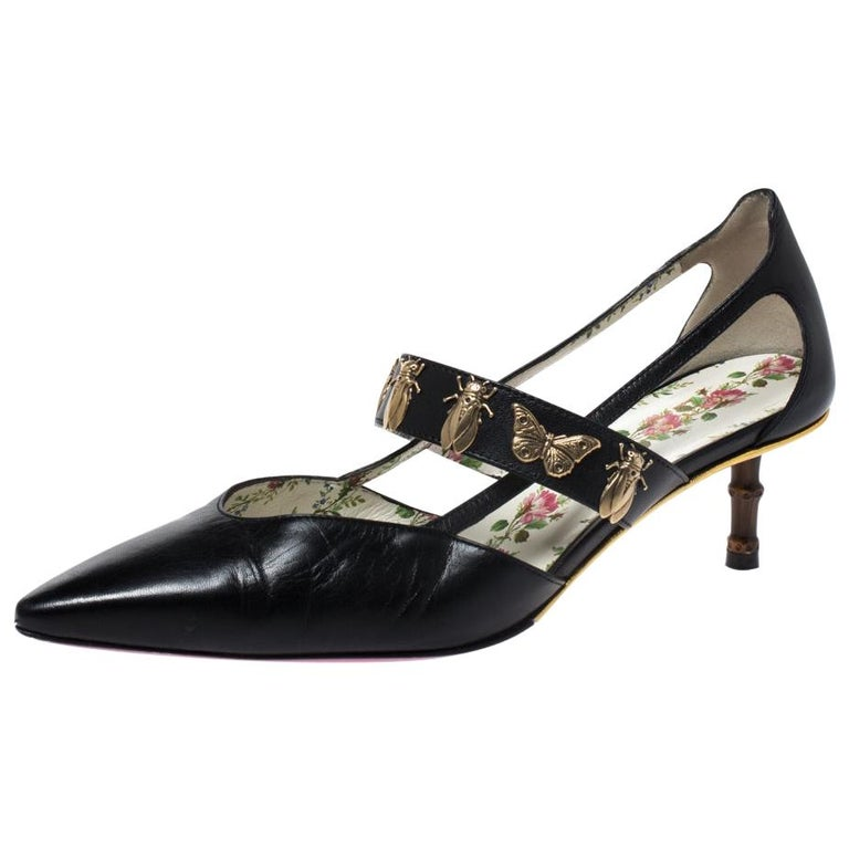 Gucci Black Leather Bee And Butterfly Embellishment Pointed Toe Pumps Size 38 For Sale