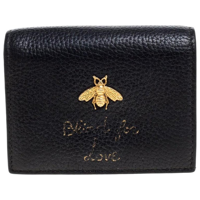 Gucci black leather Blind for Love wallet with bee motif, 2010s, offered by the Luxury Closet