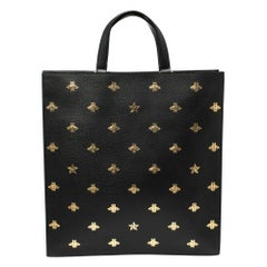 Gucci Black Leather Bee Star Two-Way Tote