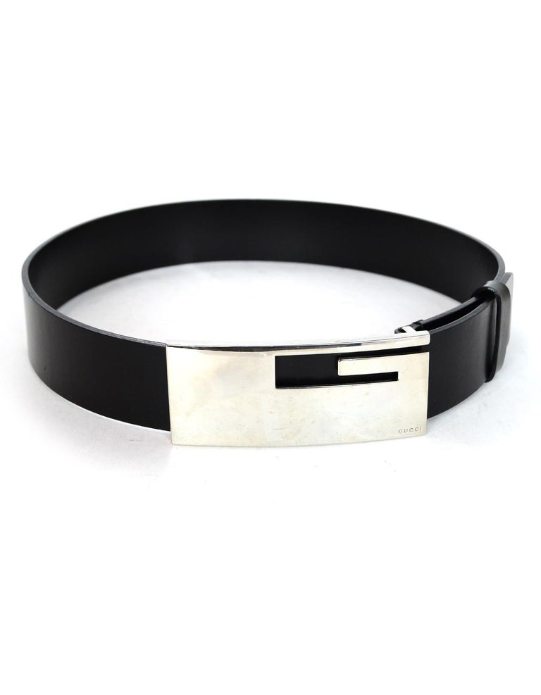 4ae96ccea23 Beige Gucci Black Leather Belt W  Silvertone XL G Logo Buckle 30 75 For