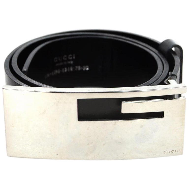 abfe365ad33 Gucci Black Leather Belt W  Silvertone XL G Logo Buckle 30 75 For Sale