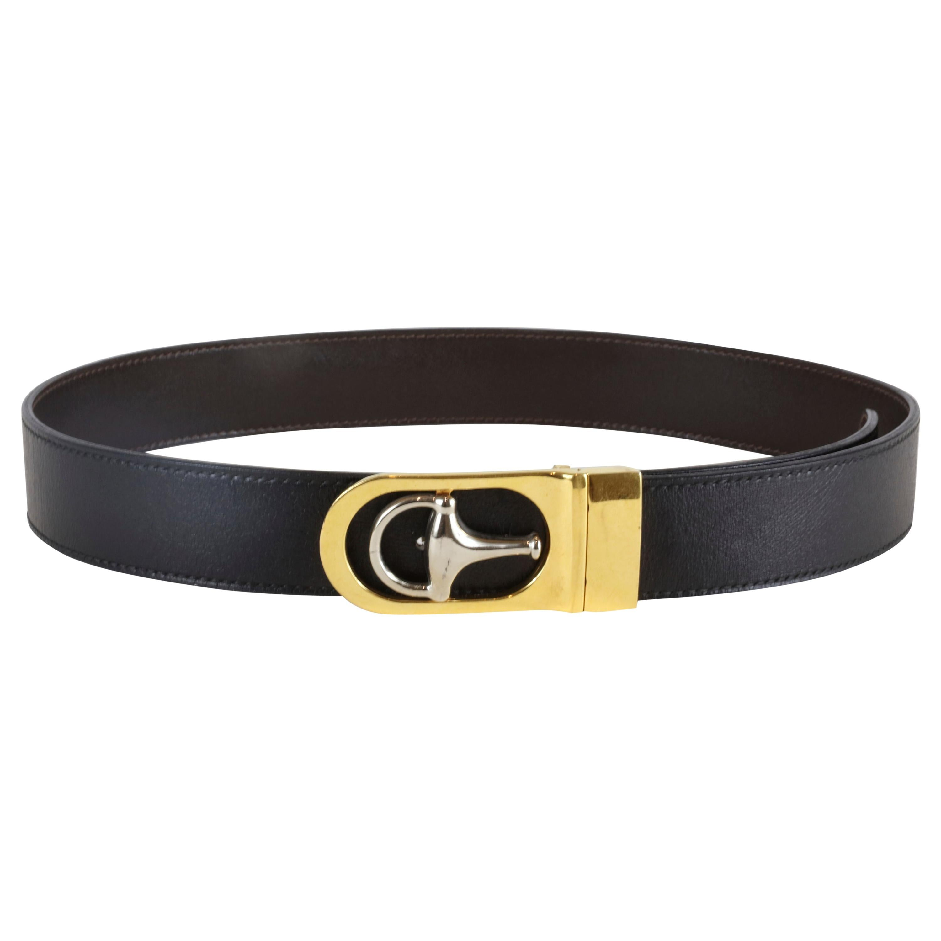 Gucci Black Leather Belt with Silver and Gold Hardware