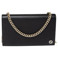 Gucci Black Leather Betty Wallet on Chain